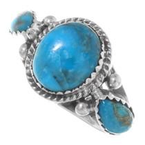 Navajo Three Stone Turquoise Silver Ring 38031