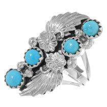 Sleeping Beauty Turquoise Silver Navajo Ladies Ring 38032