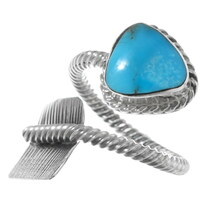 Navajo Turquoise Silver Arrow Ring 38034