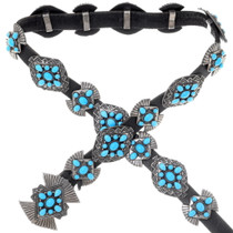 Vintage Turquoise Sterling Silver Concho Belt 38037