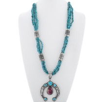 Navajo Made Spiny Oyster Squash Blossom Turquoise Necklace 38038