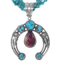 Beaded Turquoise Sterling Silver Naja Necklace 38038