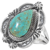 Real Turquoise Sterling Silver Navajo Ladies Ring 38042