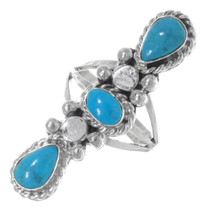 Navajo Sterling Silver Turquoise Pointer Ring 38043