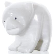 Carved White Marble Bear Fetish 38048