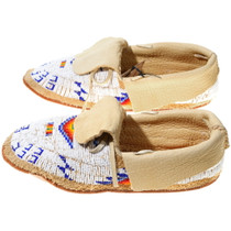 Brain Tanned Leather Beaded Moccasins 38049