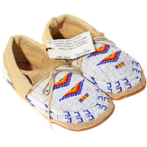 Sioux Indian Beaded Leather Moccasins 38049