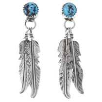 Kingman Turquoise Feather Earrings 38056