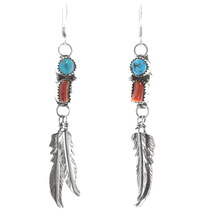 Navajo Turquoise Coral Feather Earrings 38057