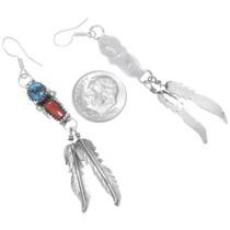 Sterling Silver Feather Dangle Earrings 38057