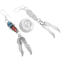 Sterling Silver Feather Dangle Earrings 38057
