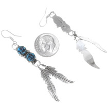 Turquoise Nugget Silver Feather Earrings 38058