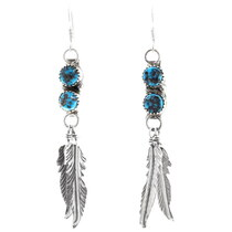 Native American Feather Dangle Turquoise Earrings 38058