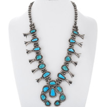 Old Pawn Natural Turquoise Squash Blossom Necklace 38066