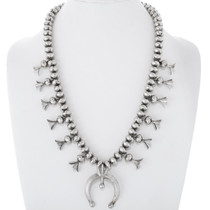 Old Pawn Sterling Squash Blossom Necklace 38067