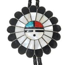 Vintage Zuni Sunface Bolo Tie 38068