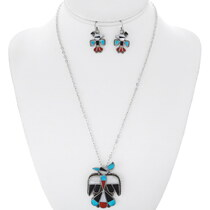 Old Pawn Zuni Thunderbird Pendant Earrings Set 38076