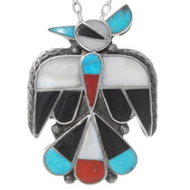 Turquoise Coral Mother of Pearl Inlay Zuni Jewelry Set 38076