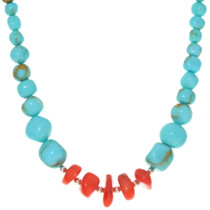 Native American Beaded Coral Turquoise Necklace 38084