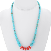Navajo Turquoise Coral Beaded Necklace 38084