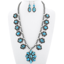 Artistic Navajo Gem Turquoise Necklace Set 38012