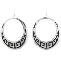 Authentic Navajo Overlaid Silver Earrings 30078