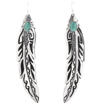Turquoise Feather Earrings 30216