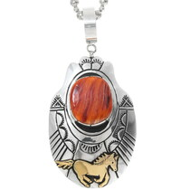 Navajo Spiny Oyster Silver Gold Horse Pendant 38087