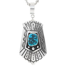 Sterling Silver Navajo Turquoise Pendant 38088