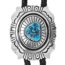 Navajo Sterling Silver Turquoise Bolo Tie 38090