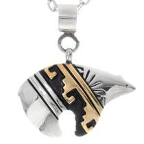 Navajo Gold Bear Pendant 38093