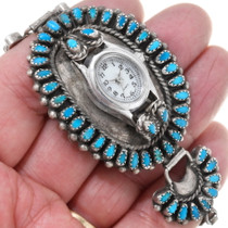 Vintage 1950s Turquoise Sterling Silver Zuni Watch 38904