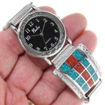 Sterling Silver Chip Inlay Turquoise Watch 39114