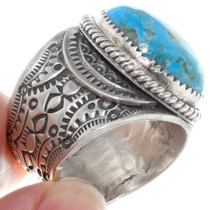 Wide Band Native American Patterns Sterling Silver Ring 39117
