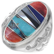 Gemstone Inlay Navajo Mens Ring 35872
