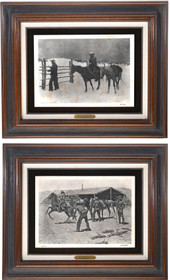 Vintage Frederic Remington Framed Etchings 39122