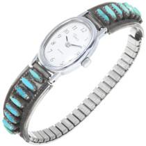 Vintage Zuni Needlepoint Turquoise Watch Bracelet 39140