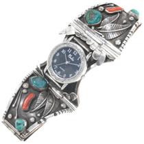 Vintage Turquoise Coral Silver Mens Watch Bracelet 39141-WT