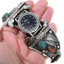 Turquoise Coral Silver Mens Watch Bracelet 39141-WT