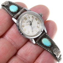 Old Pawn Navajo Turquoise Watch Handmade Tips 39142