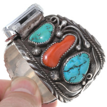 Mens Navajo Watch Cuff Traditional Turquoise Coral 39144-WT
