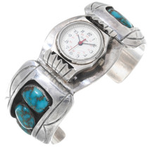 Old Pawn Turquoise Silver Watch Cuff Ladies 39145