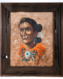 Vintage Navajo Man Framed Oil Painting 39151