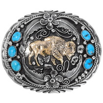 Turquoise Gold Silver Navajo Belt Buckle 31414