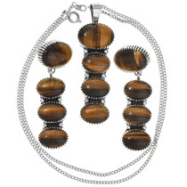 Tiger's Eye Pendant Earrings Set 25530