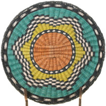 Vintage Hopi Star Wicker Tray Basket 39159