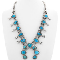 Old Pawn Turquoise Squash Blossom Necklace 39163