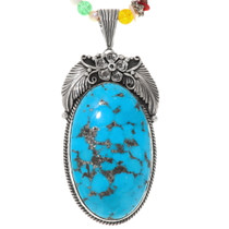 Large Genuine Blue Turquoise Pendant 39168