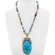 Sterling Silver Turquoise Navajo Pendant Necklace 39168
