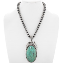 Green Turquoise Sterling Silver Navajo Pendant 39169